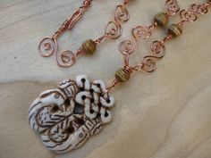 Celtic Knots and Birds Carved Bone Necklace Zoomorphic Birds Gothic Romantic - pinned by pin4etsy.com