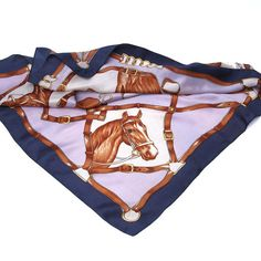 Horse Head Print Scarf in Brown and Periwinkle Blue - Horses and Straps - Equestrian Scarf