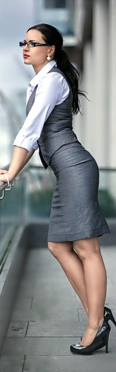 gray office business work @roressclothes closet ideas women fashion outfit clothing style