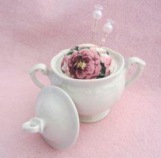 Sugar Bowl Pincushion Shabby Cottage Chic Pinkeep Barkcloth Fabric   eBay