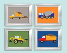 Set of 4 8x10 prints, construction transportation boys wall art, Kids Decor, Word Art, Kids Wall Art, Baby Decor, Nursery print