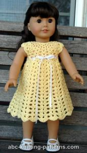 Free crochet pattern. Pattern category: Doll Clothes American Girl Doll. Fingering weight yarn. 150-300 yrds. Features: Shells, Top-Down. Easy difficulty level.
