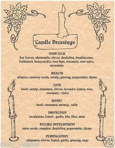 :: P a g a n Magick :: Candle Dressings Page for Book of Shadows Parchment Wicca Witchcraft BOS Pages