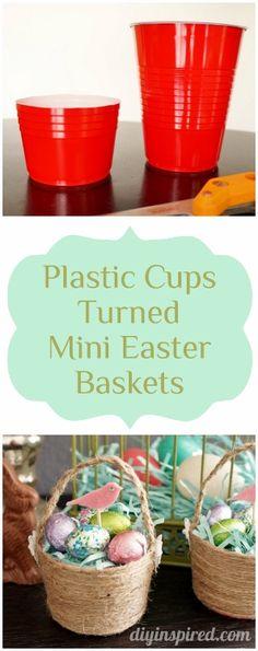Plastic Cups turned Mini Easter Baskets