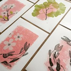 koi fish and ginkgo leaves Fish Artwork, Textile Prints, Poster Prints, Print Making, Linocut, Linocut Prints, Screen Printing, Linocut Artists, Letterpress Printing