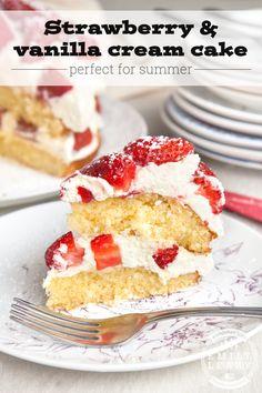 Strawberry and vanilla cream cake (so easy, a preschooler made it!)