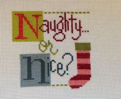completed cross stitch Lizzie Kate Christmas Naughty or Nice ?