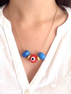 Evil eye Necklace gold handmade lampwork evil eye beads red evil eye gold filled chain evil eye jewelry kabbalah jewelry jewish necklace