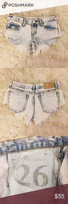 One Teaspoon Bonitas (26) Good used condition. One Teaspoon Bonitas in size 26.  Acid wash denim cutoff shorts. The wash name is called 'Classic.' Selling because they're too loose on me! One Teaspoon Shorts Jean Shorts