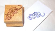 Cat drinking milk rubber stamp Bizzaro vintage 80's cats stamps wood mounted pet