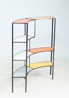 Fredric Weinberg; Wrought Iron and Lacquered Wood Shelves, 1950s.
