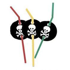6 Pailles anniversaire Pirate Party