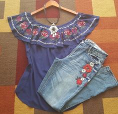 Off shoulder peasant bohemian blue embroidered TOP XL+Anthropologie Earrings | Clothing, Shoes & Accessories, Women's Clothing, Tops & Blouses | eBay!