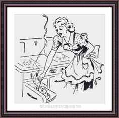 """Hello Everyone, we have a lovely cross stitch pattern for you today. """"COOKING MUM"""" Visit Here: http://etsy.me/1NEpgmF Retro yet very modern and elegant design, perfect for any room, especially kitchens and dining rooms. This pattern is so easy to stitch, it has only 8 colours in it! Designed on white aida, no background to be stitched. No backstitch or any other special stitches, cross stitch only. Design Size: 12.50 x 12.50 inches or 31.75 x 31.75 cm (200 x 200 Stitches) on 16ct Aid.."""