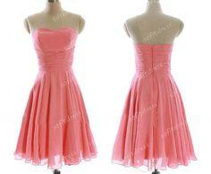 coral dress bridesmaid, chiffon bridesmaid dress, cheap bridesmaid dress, short bridesmaid dresses, mismatch bridesmaid dress, BM077 on Etsy, $99.00