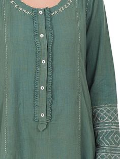 Green Embroidered Cotton Kurta with Pants and Dupatta (Set of Neck Designs For Suits, Neckline Designs, Sleeves Designs For Dresses, Dress Neck Designs, Stylish Dress Designs, Sleeve Designs, Hand Embroidery Dress, Kurti Embroidery Design, Embroidery Suits