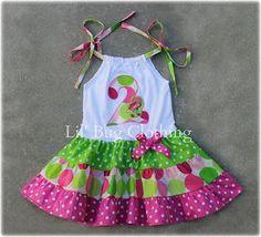 Vestido de punto personalizado Boutique ropa personalizada rosa y cal puntos en niveles de Strawberry Shortcake