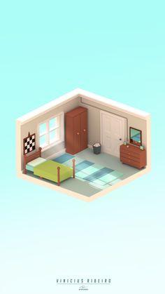 Bedroom Isometric art, Vinicius Ribeiro on ArtStation at https://www.artstation.com/artwork/D955o