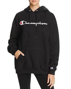 Champion Fleece Logo Hoodie - Exclusive In Black Champion Hoodie Women, Black Champion Hoodie, My Champion, Champion Sweatshirt, Hoodie Outfit Casual, Oversized Hoodie Outfit, Sweater Hoodie, Sweatshirt Outfit, Fleece Hoodie