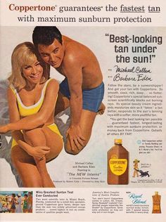 0 barbara eden & michael callan for coppertone lotion