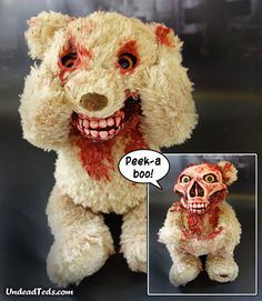 A Horrifically Altered Animatronic Zombie Teddy Bear Plays a Terrifying Game of 'Peek-A-Boo'