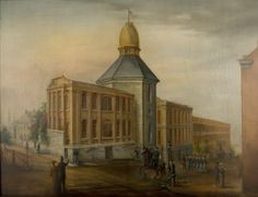 Gratiot Street Prison. Oil on canvas, painting by Martin Stadler, ca. 1864. Located at the corner of Gratiot and 8th Streets in St. Louis, the Gratiot Street Prison was the largest war prison in Missouri during the Civil War. Run by the Union Army, it was unique because it housed not only Confederate prisoners-of-war, but also guerrillas, spies and confederate sympathizers. It was demolished in 1878. The location is now the site of Nestle Purina Headquarters. Missouri History Museum