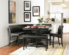 Kitchen. Black Nook Dining Set With Pedestal Table And Banquette. Small Space Hack, Nook Dining/breakfast Set. Decoroption.com