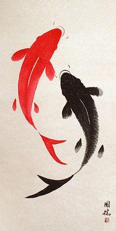 Große chinesische Wandrolle Yin Yang Fish - Large Nine Abstract Asian Koi Fish Wall Scroll 100 desenhos de Carpas Koi Fish Drawing, Koi Fish Tattoo, Fish Drawings, Art Drawings, Koi Painting, Japanese Painting, Chinese Painting, Chinese Art, Koi Art