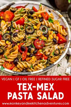 recipes lunch Tex-Mex Pasta Salad This flavorful and delicious Tex-Mex Pasta Salad is brimming with nourishing veggies and aromatic spices! Perfect for picnics, work lunches, or potlucks. Tex Mex, Vegetarian Recipes, Healthy Recipes, Healthy Dishes, Healthy Meals, Vegan Pasta, Gluten Free Pasta, Dinner Salads, Pasta Salad Recipes