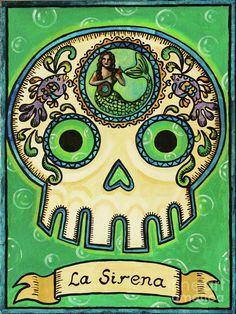 La Sirena Calavera Loteria Painting  - La Sirena Calavera Loteria Fine Art Print