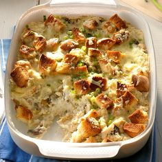 Every family seems to have a favorite stuffing recipe. My family and I have been making this one for many years. It's so delicious that no gravy is required! —Sandra Dombek, Camillus, New York Potluck Side Dishes, Potluck Recipes, Side Dish Recipes, Casserole Recipes, Cooking Recipes, Yummy Recipes, Main Dishes, Bacon Ranch Potatoes, Feeding A Crowd