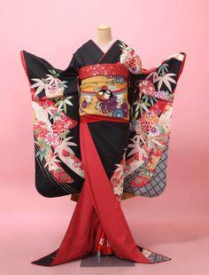 kimono for Maiko Furisode Kimono, Yukata, Kimono Dress, Japanese Costume, Japanese Kimono, Traditional Fashion, Traditional Outfits, Kimono Design, Turning Japanese