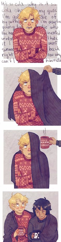 headcanon that will is the grumpiest little shit in winter and that nico angrily takes care of him   art by sandrasfandoms