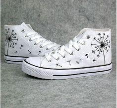 customised white converse...hand painted dandelion-diy