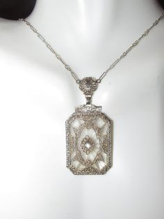 Antique 14k white gold art deco camphor glass necklace with diamond .   Amazing! #Pendant
