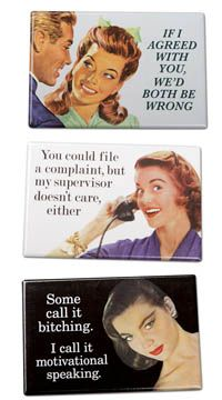 Make a statement Bring a bit of laughter to your workplace with this set of three hilarious magnets.