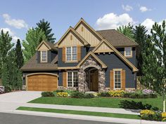 This spacious four bedroom craftsman style home has many luxurious features such as the grand two story entry.    Craftsman House Plan #441046.