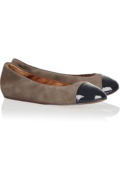 b2e42a42337d Lanvin - Patent leather-trimmed suede ballet flats