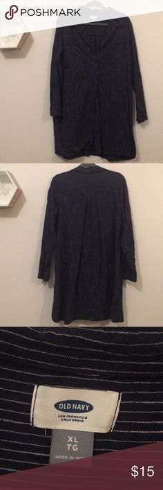 """Navy Pinstripe Shirt Dress Sweet pinstripe Shirt Dress with pleat detail on back and attached slip for modesty.   Shoulder to hem 34"""" Bust across 21""""  No modeling, sorry! Old Navy Dresses"""