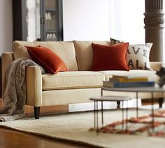 """Beverly Upholstered Sofa  Everyday velvet, buckwheat (or carbon gray) [Grade C]:  $999 (+ $100 ship) 11/13/15 Sofa overall: 80"""" w x 35"""" d x 35"""" h; Diagonal Depth: 32""""; Seat: 72"""" w x 26"""" d x 18"""" h Arms: 4"""" w x 24"""" h ;Legs (removable): 2"""" diam x 6"""" h ;Back Height: 28""""; Weight: 80 lb BrushedCanvas, Honey (Grade B): $1,199 base price EverydaySuede, Oat (Grade C): $1,399 base price"""