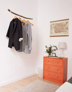 A charming makeshift clothing-storage solution for a guest room that lacks a closet. #DIY