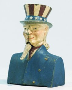 "Painted cast iron Uncle Sam bust-style mechanical bank with ""jiggling"" goatee"