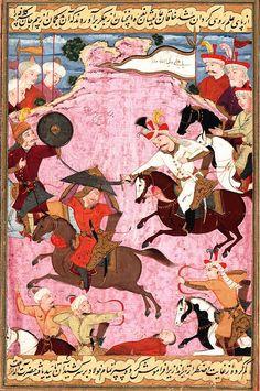 Muhammad Shaybani Khan of the Uzbeks fights Shah Ismail I of  Safavid Iran. The Uzbeks lost