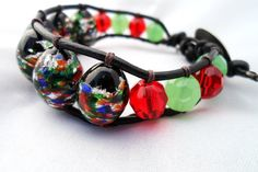 Green and Red Marble Glass Beaded Leather Wrap by HempGalore, $26.00