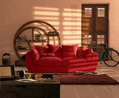 Furniture. Chinese Interior Furniture for Contemporary Residence in Shanghai: Astounding Chinese Furniture Red Colour Icon Puffy Sofa Bed With Puffy Cushions And Brown Fur Rug For Chinese Furnishing Styles ~ wegli