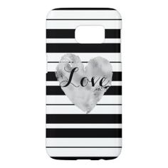 Custom, Silver Heart with Stripes Samsung Galaxy S7 Case