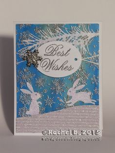 Impression Obsession stamp : Best Wishes Cover-A-Card Snowflakes Impression Obsession dies : Bunny Set. Wood Snowflake, Snowflakes, Impression Obsession Cards, Pine Branch, Faber Castell, Winter Cards, Holographic, Wish, Christmas Cards