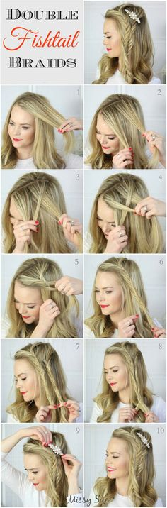 Braid double fishtail braids