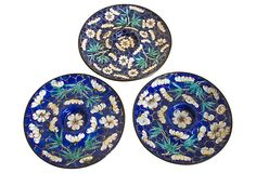 One Kings Lane - Enameled Candle Plates, S/3