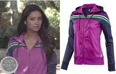 Emily Fields (Shay Mitchell) wears this purple athletic jacket with neon stripesin this week's episode of Pretty Little Liars. It is the Adidas Women's Training Jacket with Climalite Technology. Sold Out. Pretty Little Liars Mode, Watch Pretty Little Liars, Pretty Little Liars Outfits, Pll Outfits, Fashion Outfits, Rebel Outfit, Character Outfits, Adidas Women, Fashion Beauty